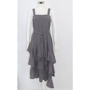 Bar III NWT Polka Dot Ruffle Asymmetric Midi Dress